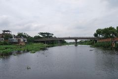 Vista del punto di Basila del fiume di Buriganga, Dacca, Bangladesh Immagine Stock Libera da Diritti
