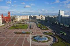 Vista del quadrato centrale di Minsk fotografie stock libere da diritti