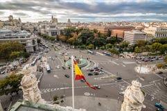 Vista del quadrato di Cibeles da municipio di Madrid Fotografia Stock