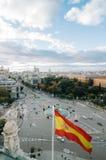 Vista del quadrato di Cibeles da municipio di Madrid Immagine Stock Libera da Diritti