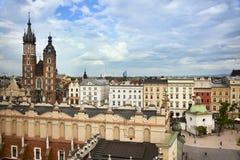 Vista del quadrato principale di Cracovia Fotografia Stock