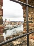 Vista del río Danubio en Passau, Alemania Fotos de archivo