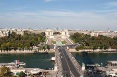 Vista del río Seine, Trocadero y defensa del La de la torre Eiffel París, Imagen de archivo libre de regalías