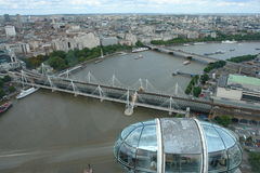 Vista del río Támesis del ojo de Londres Imagen de archivo libre de regalías