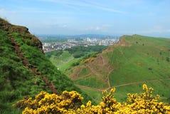 Vista del ` s Seat di Arthur di Edimburgo, Scozia Fotografie Stock Libere da Diritti