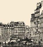 Vista del Saint Louis de Ile en París Foto de archivo