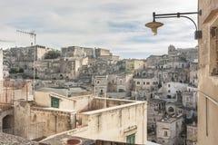 Vista del Sassi de Matera Imagen de archivo