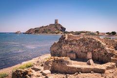 Vista del sitio arqueológico de Nora, Cerdeña foto de archivo libre de regalías