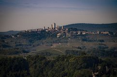 Vista del sito del patrimonio mondiale dell'Unesco di San Gimignano immagine stock