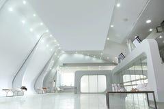 Vista del soffitto dello studio bianco vuoto di ballo immagini stock libere da diritti