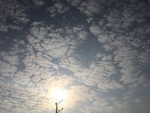 Vista del sole di mattina con le nuvole Immagine Stock Libera da Diritti