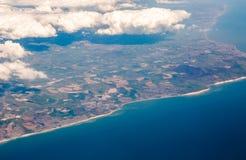 Vista del sud BRITANNICA delle scogliere di costo dalla cima su Eastbourne, Brighton, Inghilterra Immagini Stock Libere da Diritti