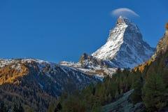 Vista del supporto il Cervino da Zermatt, alpi, Svizzera Fotografia Stock Libera da Diritti