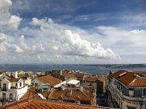 Vista del tagus della città e del fiume di Lisbona Immagini Stock Libere da Diritti