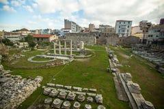 Vista del teatro antico sotto l'acropoli di capitale greca Atene Fotografia Stock