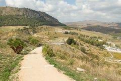Vista del tempio antico antico in Segesta fotografia stock libera da diritti