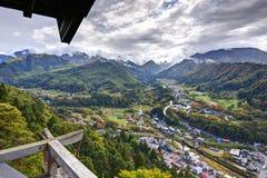 Vista del tempio della montagna Fotografie Stock