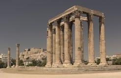 Vista del templo de Zeus olímpico Fotos de archivo