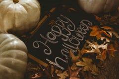 Vista del testo felice di Halloween sull'ardesia con le zucche e le foglie di autunno Fotografie Stock Libere da Diritti