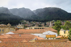 Vista del tetto di La Candelaria al Montserrate, Bogota, Colombia Fotografia Stock