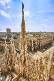 Vista del tetto di Milan Cathedral Fotografie Stock Libere da Diritti