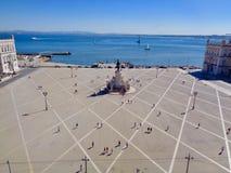 Vista del tetto del quadrato di commercio, Lisbona fotografie stock libere da diritti