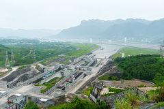 Vista del Three Gorge Dam Fotografia Stock Libera da Diritti