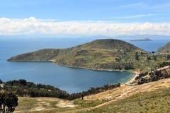 Vista del Titicaca fra la Bolivia ed il Perù Fotografia Stock Libera da Diritti