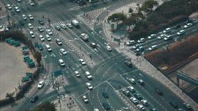 Vista del tráfico de Tel Aviv de la ciudad almacen de video