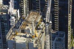 Vista del trabajo del contruction en Melbourne durante Imagen de archivo