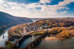 Vista del traghetto e del fiume Potomac di Harper da Maryland Heigh Fotografie Stock