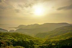 Vista del tramonto dalla montagna di Inasayama a Nagasaki, Giappone Fotografia Stock Libera da Diritti