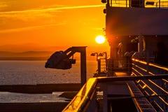 Vista del tramonto dalla nave da crociera Immagine Stock Libera da Diritti