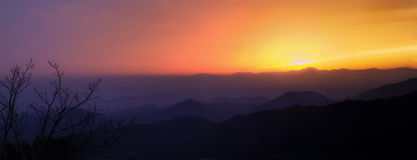 Vista del tramonto sopra catena montuosa con i rami a priorità alta fotografie stock libere da diritti