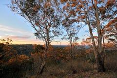 Vista del tramonto sopra la valle di Toowoomba fotografia stock