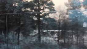Vista del treno dalle case del villaggio della foresta della neve di inverno del movimento della finestra nella neve foresta di i stock footage