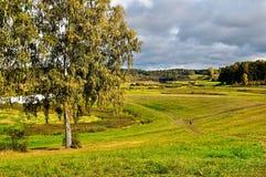 Vista del valle del río de Soroti - paisaje del otoño Imagenes de archivo