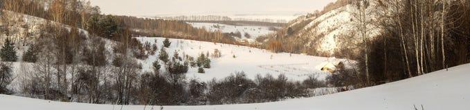 Vista del valle y del llano nevados Invierno, región de Altai Foto de archivo libre de regalías