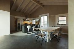 Vista del vector y de la cocina de cena foto de archivo