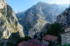 Vista del villaggio in Asturie Fotografia Stock