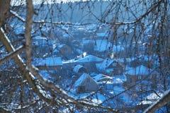 Vista del villaggio attraverso i rami di albero nell'inverno Fotografie Stock Libere da Diritti