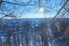 Vista del villaggio attraverso i rami di albero nell'inverno Immagini Stock Libere da Diritti