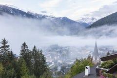 Vista del villaggio dell'alpe di Matrei Fotografia Stock