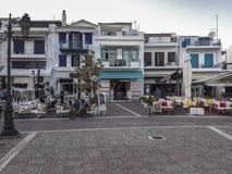 Vista del villaggio della città di Skiathos fotografia stock libera da diritti