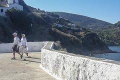Vista del villaggio della città di Skopelos fotografia stock libera da diritti