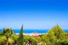 Vista del villaggio di Denia alta da Montgo Spagna Fotografie Stock