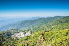 Vista del villaggio di Doi Pui su Doi Suthep, Chiang Mai, Tailandia Fotografia Stock Libera da Diritti