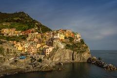 Vista del villaggio di Manarola, Cinque Terre, Italia Fotografia Stock Libera da Diritti
