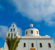 Vista del villaggio di OIA nell'isola di Santorini La Grecia Fotografia Stock