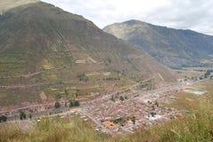 Vista del villaggio di Pisac Perù Immagine Stock